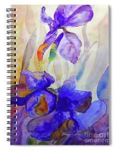 """This x spiral notebook features the artwork """"Iris"""" by Jasna Dragun on the cover and includes 120 lined pages for your notes and greatest thoughts. Fine Art Drawing, Art Drawings, My Flower, Flower Art, Notebooks For Sale, Beautiful Notebooks, Spiral Notebooks, School Supplies, Art Work"""