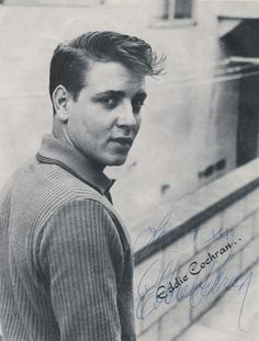 Eddie Cochran. American rock and roll musician taken from us aged 21 after a road accident in the town of Chippenham, Wiltshire during his British tour in April 1960. Amazing tunes!