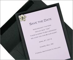 We could do black and Pink Save the Date cards   with flower brad
