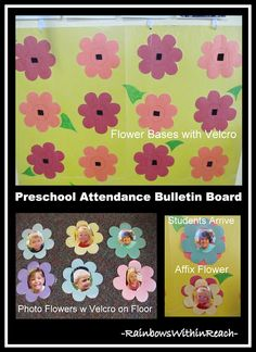 """Preschool """"Attendance"""" Check-in with Photo Flowers.  I might use this with a caterpillar theme instead."""