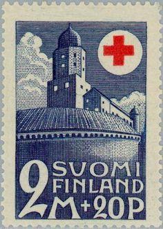 Sello: Vyborg Castle 1293 (Finlandia) (Red Cross) Mi:FI 166,Yt:FI 163,Fac:FI 170