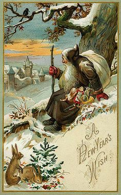 / new year's wish from santa / antique christmas postcard / Vintage Christmas Images, Old Christmas, Old Fashioned Christmas, Victorian Christmas, Father Christmas, Retro Christmas, Vintage Holiday, Christmas Pictures, Christmas Greetings