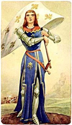 Holy Card of Joan of Arc in Armor with Blue Frock covering and holding her banner