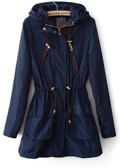 Navy Hooded Long Sleeve Drawstring Trench Coat US$43.61 cute and casual coat for fall