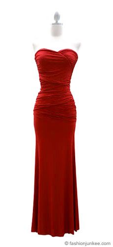 :As Seen in US WEEKLY: Sweetheart Shaped Strapless Full Length Long Evening Dress-Red