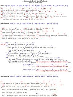 Gotye Somebody That I Used To Know Chords & Lyrics - Part 1