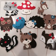 10 Woodland Animal Cake Toppers by TookiesLLC on Etsy