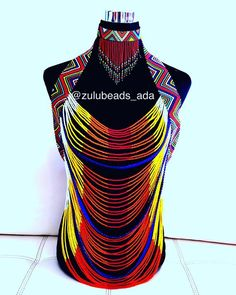 Body Jewelry Zulu beaded body Jewelry in African colours only Zulu beaded body Jewelry in African colours only African Fashion Designers, African Men Fashion, Africa Fashion, African Beads, African Jewelry, African Attire, African Dress, African Outfits, African Clothes