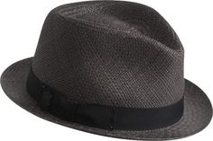 62142a4cf70c8 Mens Structured 100% Paper Straw Black Band Fedora Hat