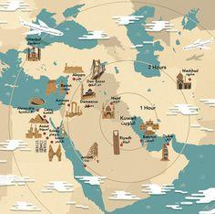 Sam Brewster - Middle East Destination map for Jazeera Airways