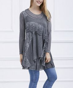 Loving this Gray Lace-Overlay Sidetail Tunic on #zulily! #zulilyfinds