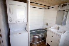 Bathroom tub shower, tiny house bathroom, tiny bathrooms, laundry in bathro Tiny Laundry Rooms, Tiny Bathrooms, Tiny House Bathroom, Laundry In Bathroom, Small Bathroom, Bathroom Ideas, Bathroom Designs, Bathroom Renovations, Bathtub Designs