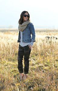 fall layers :: camo pants, striped shirt, denim jacket, and tan scarf