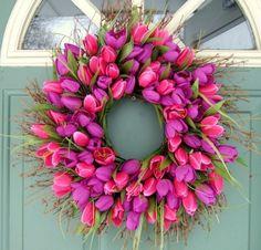 Blumenkranz pink deko-auffällig haustür-ideen
