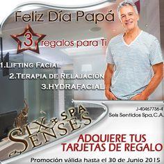 Six Senses Spa tiene 3 regalos para Papá en su día.  Promoción Limitada, NO LO DEJES PASAR.  Obséquiale una  TERAPIA DE RELAJACIÓN + LIFTING FACIAL y el HYDRAFACIAL.   Adquiere tu tarjeta de regalo...  TE ESPERAMOS!!