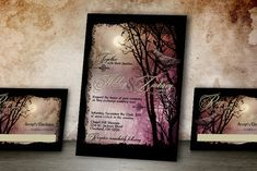 This Edgar Allen Poe inspired wedding set is also great for Halloween parties! Spooky trees, a full moon and crows are perfect for your Halloween themed wedding or party! An offbeat wedding invitation for sure, yet sophisticated styling make this a great choice for your goth wedding or
