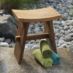 Natural Natural Teak Shower Stool:Amazon:Kitchen & Dining