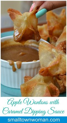 These Apple Wontons with Caramel Dipping Sauce are the bomb. I can not and will… These Apple Wontons with Caramel Dipping Sauce are the bomb. I can not and will not be responsible for you eating too many of them. Just Desserts, Delicious Desserts, Dessert Recipes, Yummy Food, Apple Desserts, Health Desserts, Apple Recipes, Fall Recipes, Sweet Recipes