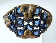 Sapphire Blue Bangle Bracelet 12 Stone Custon Made Art Deco Costume Acanthus Leaf Jewelry on Etsy, $75.00