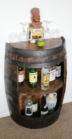 Whiskey Barrel Half Bar Large 53 Gallon, Bourbon Barrel, Wine Barrel Shelf, Liquor Cabinet, Home Bar - Home Bar Cabinet, Drinks Cabinet, Liquor Cabinet, Cabinet Ideas, Alcohol Cabinet, Whisky Regal, Table Baril, Canto Bar, Barrel Projects