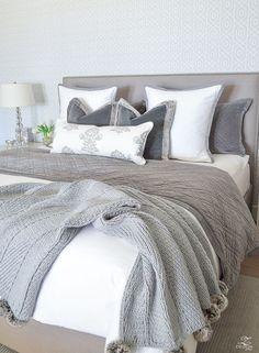transitional modern gray and white bedroom how to make a bed pom pom throw fur trim pillows velvet bedding gray linen upholstered headbaord thibaut geometric Grey And White Bedding, Grey Bedding, Gray Bedroom, Trendy Bedroom, Bedroom Decor, Modern Bedding, Aztec Bedding, Modern Beds, Bedroom Modern