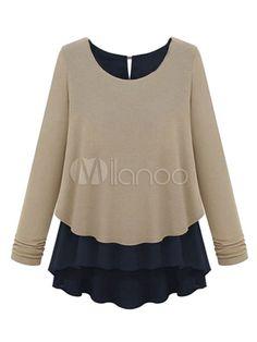 Mangas compridas dois tons falsos duas peças do Chiffon elegante blusa para mulheres - Milanoo.com