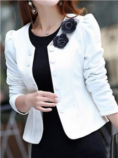 Ericdress High Quality Double-breasted Double Roses Collar Korean Blazer c8543d2add0b