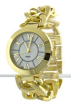 Fancy Chain Link Watch Gold! I found this on www.rmcjewelry.com