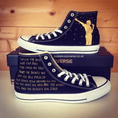 Black and Gold Imagine Dragons Converse