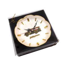 """Vintage Wall Clock with Capiz Shell and Truck Design from the Philippines, Working 8"""" Vintage Fire Truck Clock, IOB WORKS!"""