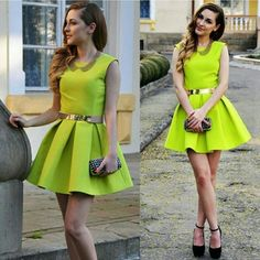 Neon Green Fit & Flare Dress With Cutout Back. Sexy lime green sleeveless fit and flare skater dress with cut out back. Purchased on posh but never wore it. I ordered a small but it definitely fits more like a medium and I never seen a size tag..Belt not included. Nwot Dresses Backless