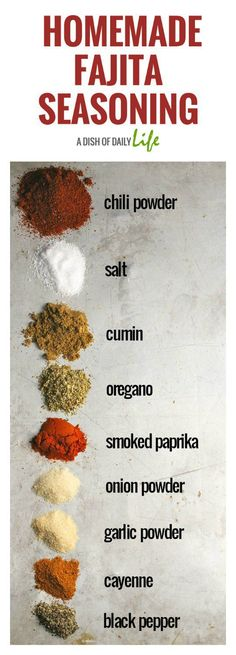 This Fajita Seasoning Recipe is perfect for chicken, beef, shrimp, and vegetables, either as a dry rub or a marinade! You can make at home in 5 minutes with ingredients you already have in your spice cabinet and it tastes better than the store bought pack Homemade Fajita Seasoning, Seasoning Mixes, Mexican Seasoning For Chicken, Burrito Seasoning Recipe, Chicken Fajitas Seasoning, Shrimp Fajita Recipe, Marinade Chicken, Fajita Marinade, Shrimp Fajitas