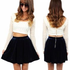 Get ready for Fall with the va-va-velvet navy skater skirt for only $24.99!!! White crochet crop top ($24.99) both available online and instore at #sophieandtrey and www.sophieandtrey.com! #velvet #navy #skaterskirt #crochet #croptop