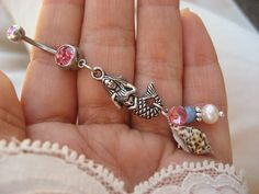 Belly Button Jewelry- Navel Ring Pink Mermaid Pearl Opal Sea Shell Seashell Bar Barbell