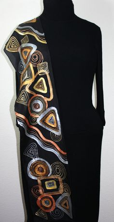 Hand Painted Silk Scarf Black Jewel.