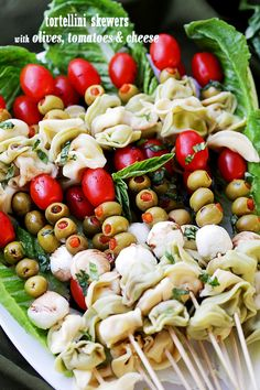 Tortellini Skewers with Olives Tomatoes and Cheese