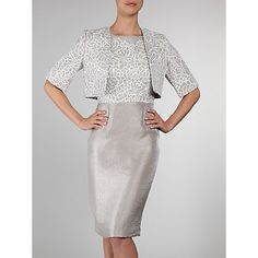 Buy Gina Bacconi Shimmer Embroidered Dress and Jacket, Oyster Online at johnlewis.com