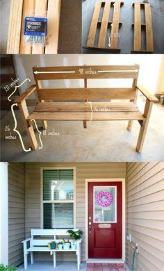 Banco con un palé - doleenoted.blogspot.com - DIY Pallet Bench