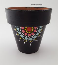 Simple mandala design on a potted plant. Made with the Mandala dotting tools. Bu… Simple mandala design on a potted plant. Made with the Mandala dotting tools. Mandala Design, Mandala Dots, Flower Pot Art, Flower Pot Design, Painted Plant Pots, Painted Flower Pots, Painted Pebbles, Dot Art Painting, Dot Painting Tools