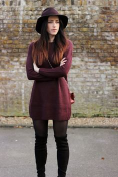 Karen Millen otk boots, chanel red flap mini, berry jumper dress, uk fashion blogger, copykitty