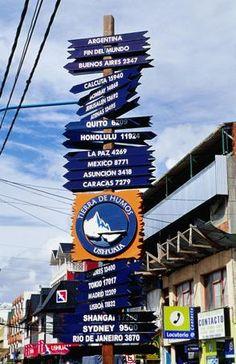 Sign post on St Martin, #Ushuaia's main street. #SouthAmerica
