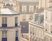 Morning light in Montmartre - soft blue and grey tones Paris, France, Paris Photography, winter in Paris, French wall art, Parisian rooftops