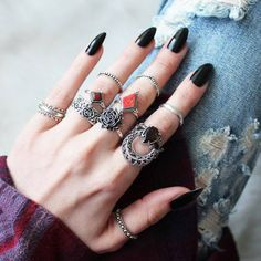 Trendy Punk Anneau Hommes//Femmes Armor Ongle Knuckle Parti long Open Full Finger Rings