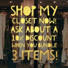 Shop my closet! Shop my closet and get 10% taken off when you bundle 3 items or more! Poshmark Automatically gives you 15% off from shipping because you are buying items together- I can give you 10% more! Other