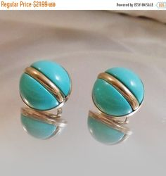 Vintage Turquoise Holiday Earrings. Sarah Coventry Earrings. 1966. Atomic…