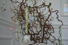Easter eggs from Royal Copenhagen on hazel branches.