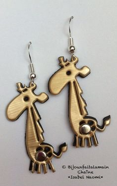 Bijoux Nespresso: boucles d'oreilles girafe par Bijouxfaitalamain13