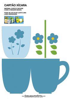 Cartão Xícara para Dia das Mães Azul - Fazendo a Nossa Festa
