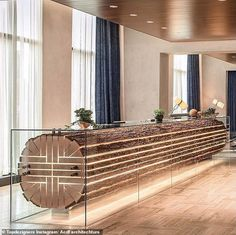 Woody reception desk at The Douglas Hotel in Vancouver, Canada, designed by ACDF Architecture 😍🇨🇦 Cheers Epicureans! Hotel Reception Desk, Reception Design, Reception Areas, Black White Bathrooms, Bathroom Black, Small Bathroom, Bathroom Ideas, Decoration Design, Hotel Lobby