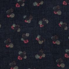 Woven viscose navy w uneven dots